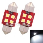 MZ 31mm 2W Festoon 4-SMD 3030 LED Car Reading Lamps White (2PCS)