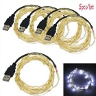 JIAWEN USB 5m 3W 50-LED White Holiday Decoration String Light (5PCS)