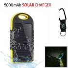 "SUNGZU ""5000mAh"" Waterproof Solar Power Bank - Yellow + Black"