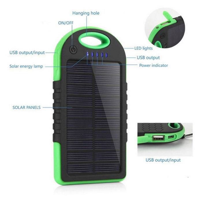 5000mAh Waterproof Solar Power Bank - Green + BlackMobile Power<br>Form  ColorBlack + GreenQuantity1 DX.PCM.Model.AttributeModel.UnitMaterialABSShade Of ColorGreenCompatible ModelsIPHONE 6S PLUS,IPHONE 6 PLUS,IPHONE SE,IPHONE 6S,IPHONE 6,IPHONE 5S,IPHONE 5C,IPHONE 5,IPHONE 4,IPHONE 4S,IPHONE 3GS,IPHONE 3G,IPAD PRO 12.9 inch,IPAD AIR,IPAD MINI 2(IPAD MINI WITH RETINA DISPLAY),IPAD MINI (1ST GENERATION),IPAD 4,THE NEW IPAD(IPAD 3),IPAD 2,IPAD 1,IPOD TOUCH 5,IPOD TOUCH 4,IPOD TOUCH 3,IPOD TOUCH 2,IPOD TOUCH 1,IPOD NANO 7,IPOD NANO 6,IPOD NANO 5,IPOD SHUFFLE 4,IPOD SHUFFLE 3,IPOD SHUFFLE 2,IPOD SHUFFLE 1,IPOD CLASSIC,Others,GoPro Hero 1,GoPro Hero 2,GoPro Hero 3,GoPro Hero 3+,GoPro Hero 4,IPAD AIR 2,IPAD PRO 9.7 inch,IPAD MINI 4,IPAD MINI 3,GoPro Hero 4 Session,IPHONE, Android smartphone, IPAD, GPS, camera etc.Compatible TypeUniversalBattery TypeLi-polymer batteryBuilt-in Battery ModelOthers,Li-polymer batteryBuilt-in Battery Quantity1Voltage5 DX.PCM.Model.AttributeModel.UnitCapacity Range3001mAh~4000mAhNominal Capacity5000 DX.PCM.Model.AttributeModel.UnitBattery Measured Capacity 4000 DX.PCM.Model.AttributeModel.UnitInput3.7VOutput interface, output current, output voltage5V 1A, 5V 2ACharging Time6-8 DX.PCM.Model.AttributeModel.UnitWorking Time5-8 DX.PCM.Model.AttributeModel.UnitFeaturesLED Indicator,Flashlight,Solar PoweredCertificationCE, FCC, ROHSPacking List1*Solar Power Bank<br>
