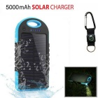 "SUNGZU ""5000mAh"" Waterproof Solar Power Bank - Blue + Black"