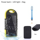 "SUNGZU ""5000mAh"" Waterproof Solar Power Bank w/ LED - Yellow + Black"