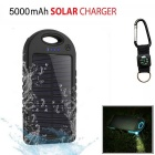 """5000mAh"" Vanntett Solar Power Bank Batteri - Sort + Hvit"