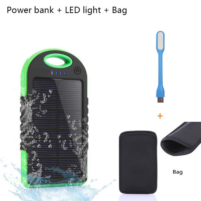 "SUNGZU ""5000mAh"" Waterproof Solar Power Bank + LED - Green + Black"