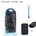 "SUNGZU ""5000mAh"" Waterproof Solar Power Bank + LED - Blue + Black"