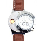 2-in-1 Metal Analog Watch & USB Electronic Lighter - Silver + Brown
