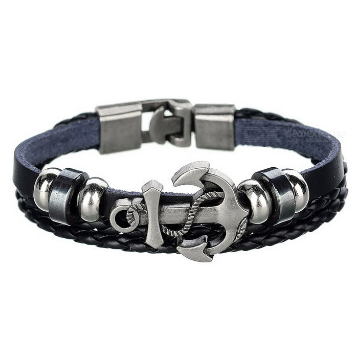 Unisex Punk Style Anchor Ornament Armband - Svart