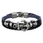 Unisex Punk Style Anchor Ornament Bracelet - Black