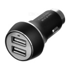 5V 3.1A 2-USB Car Charger / Metal martello di sicurezza - nero