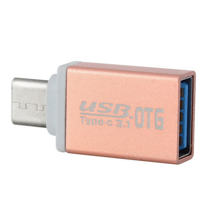 USB 3.0 to USB 3.1 Type-C OTG Adapter - Rose Gold + White
