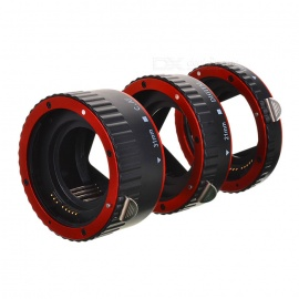 Auto Macro Extension Tube Ring Set for Canon DSLR - Black + Red