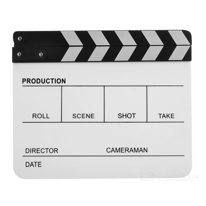 Acrylic Director Film Movie Clapper Board with Magnet - Black + WhiteOther Accessories<br>Form ColorWhite + BlackMaterialAcrylicQuantity1 DX.PCM.Model.AttributeModel.UnitPacking List1 * Film clapboard<br>