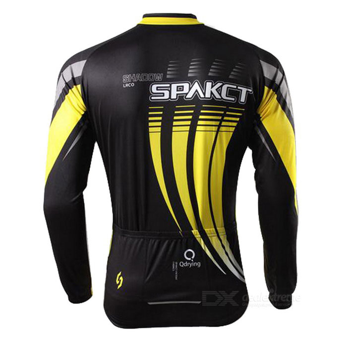 SPAKCT Unisex Long Sleeves Cycling Jersey - Black + Yellow (XL ... 4b7a12e49