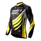 SPAKCT Unisex mangas compridas Cycling Jersey - Black + Amarelo (L)