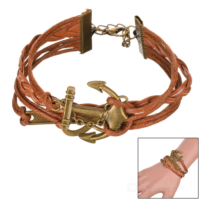 'Where There Is a Will There Is a Way' Anchor Style Bracelet - Brown