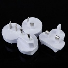 Wall Mount 4-Port USB Travel Charger + EU/AU/US/UK Adapters - White