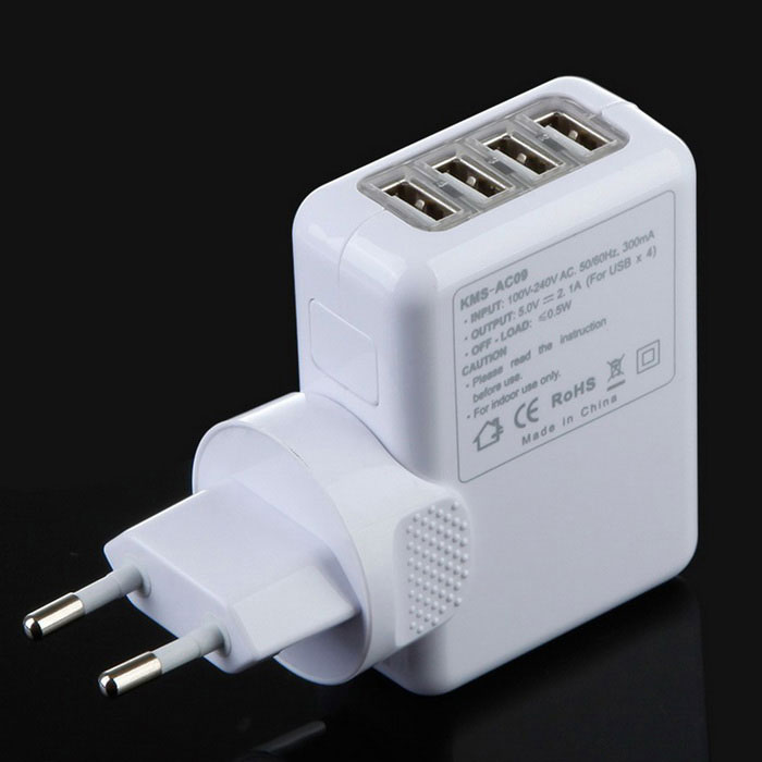 wall mount 4 port usb travel charger eu au us uk adapters white free shipping dealextreme. Black Bedroom Furniture Sets. Home Design Ideas