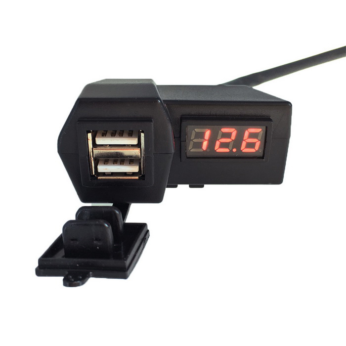 IZTOSS C5041R 2-in-1 DC 12~24V Motorcycle Dual USB Charger + Voltmeter