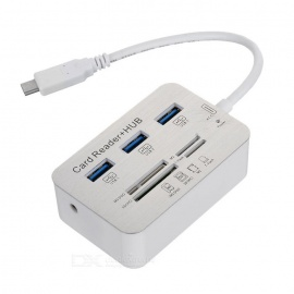 3-Port USB 3.0 HUB + MS DUO / SD(HC) / M2 / TF Card Reader - White
