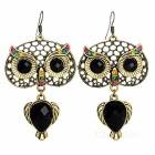 Fashionable Women's Owl Shape Earrings - Brass + Purple Black (Pair)