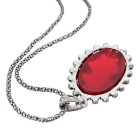 Retro Artificial Gem Pendant Necklace for Women - Red + Silver