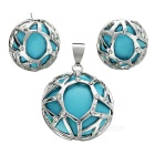 Round Shape Earrings + Necklace Pendant Set - Blue + Silver