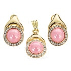 Water Drop Shape Earrings + Necklace Pendant Set - Golden + Peach Pink