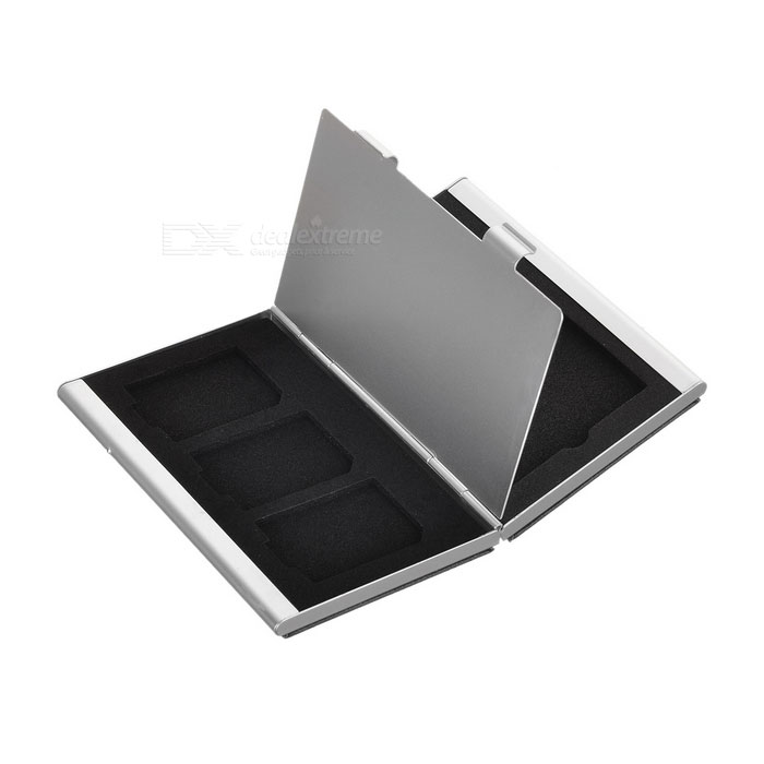 S6 2-Slot CF + 3-Slot SD Memory Card Storage Box - Black + Silver