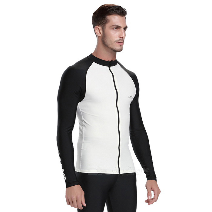 Sbart Men's Scuba Diving Surfing Dive Skin - Black + White (XXXL)