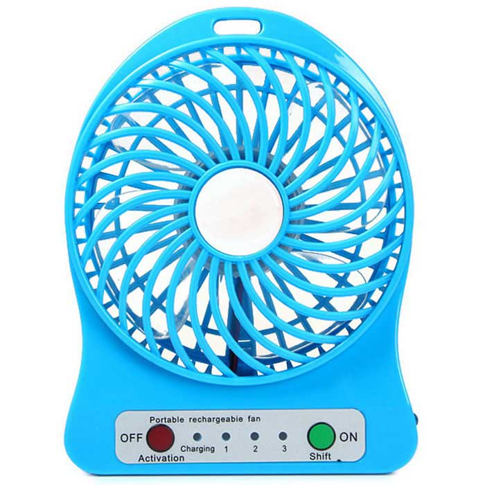 Outdoor Mini Portable USB Rechargeable Fan w/ LED Light - Blue
