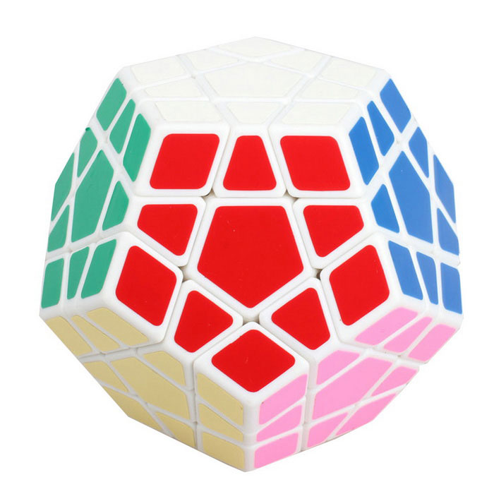 Shengshou Megamix 12 Eixo 3-Rank IQ Magic Cube - White + MultiColor