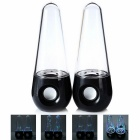 6W LED Light Stereo Desktop Speakers - Black + Transparent (2PCS)