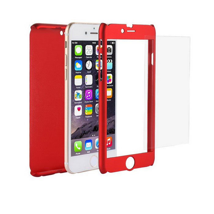 Caso Ultra Slim Full Body Coverage PC para o iPhone 6 / 6S - Red