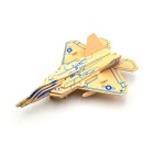 Wooden 3D Building Blocks Puzzle Aircraft Model - Blue + Yellow