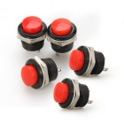 Qook JHWH73001 15mm Self-Locking Button Switch - Black + Red (5 PCS)