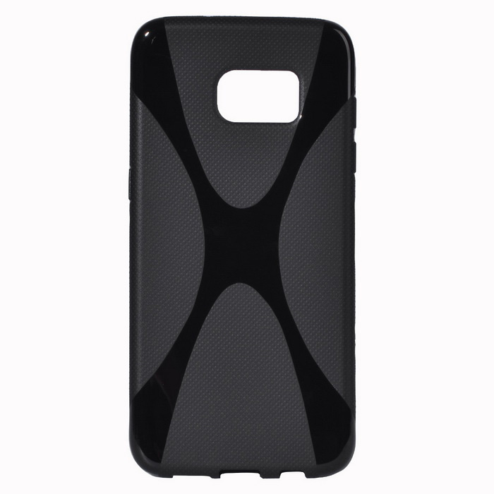 """X"" Style Protective TPU Back Case for Samsung Galaxy S7 Edge - Black"