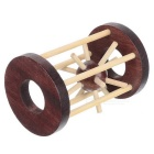 Wooden Puzzle Cage Mind Twisting Spiel-Dark Brown + Khaki