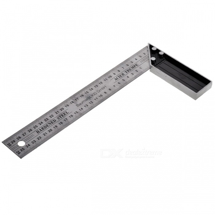 Multifunctional L Shape Right Angle Ruler - Silver + Grey (300mm)