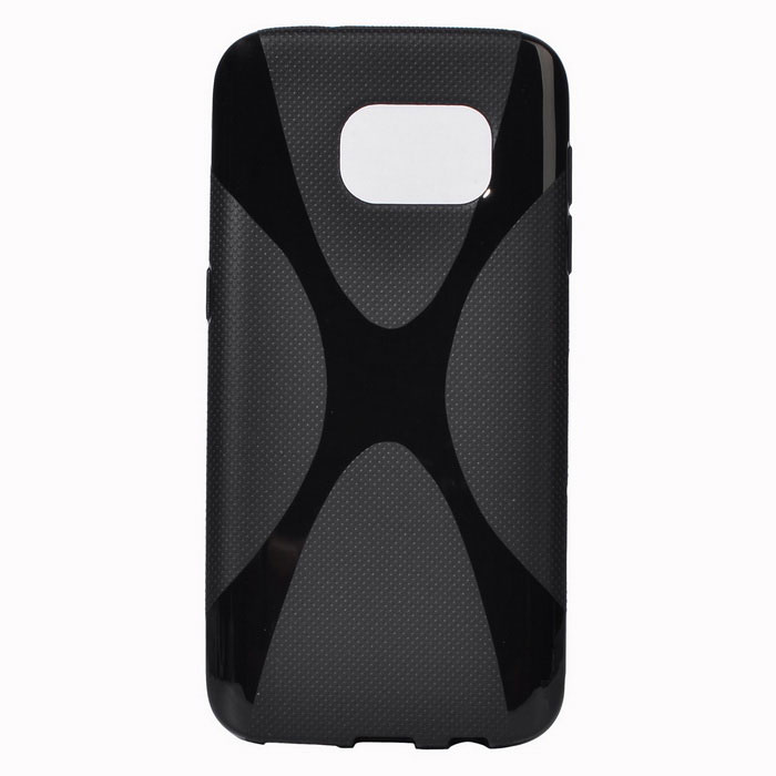 """X"" Style Protective TPU Back Case for Samsung Galaxy S7 - Black"
