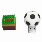 SAMDI Football Shape USB 2.0 Flash Drive - White + Green + Brown (8GB)