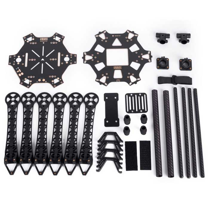 S550 Carbon Fiber Multi-rotor Air Frame Kit - BlackOther Accessories for R/C Toys<br>Form  ColorBlackModelS500Materialdurable hard PCB board and plasticQuantity1 DX.PCM.Model.AttributeModel.UnitCompatible ModelF450 upgrade quadcopterPacking List6*Arms 1*Top Board 1*Bottom Board 1*PCB Parallel Board 4*High Landing Gears 2*Special Pipes 2*Pipe Supports 4*Set Screws 4*Screws (2.5-p0.45*5)8*Screws (2.5*8) 16*Screws (3*7)24*Screws(2.5*6)<br>