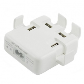 20W Multifunctional 4-Port USB Fast Charger - White (US Plugs)