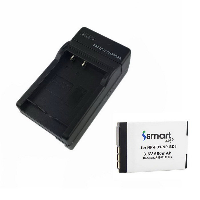 Ismartdigi FD1 3.6V 680mAh Camera Battery + Charger For Sony BD1, T900