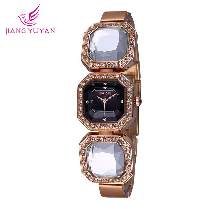 WeiQin 391203 Women's Crystal Bracelet Quartz Watch - Rose Gold +Black