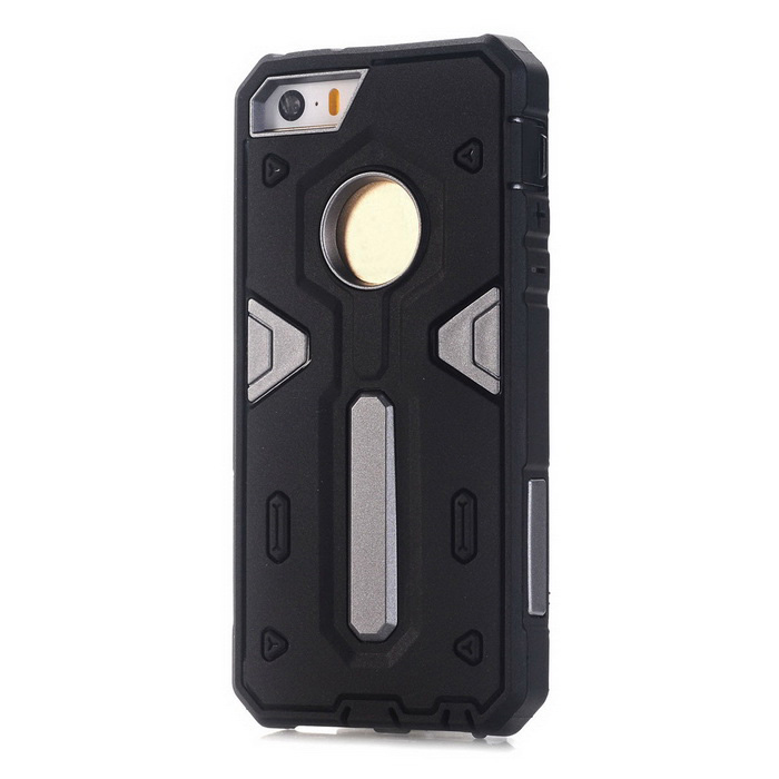 TPU + caso de volta do PC para IPHONE SE / 5S / 5 - preto + cinza