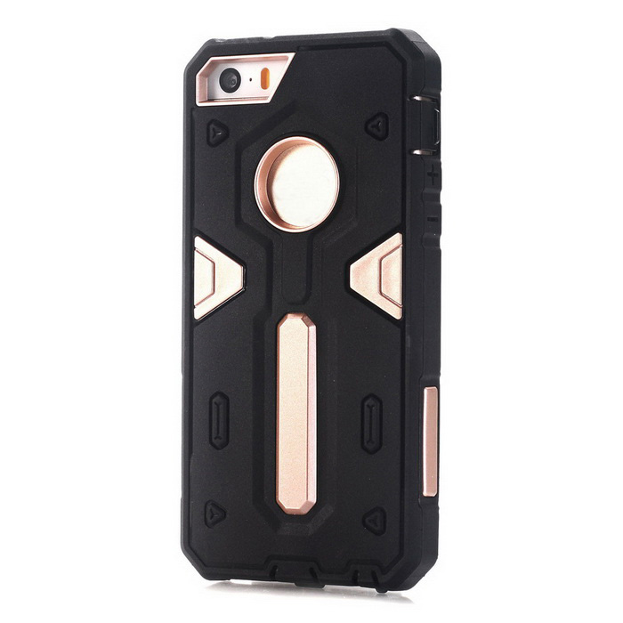TPU + caso de volta do PC para IPHONE SE / 5S / 5 - preto + dourado