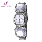 WeiQin 391204 Women's Crystal Bracelet Quartz Watch - Silver + White