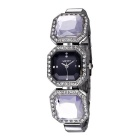 WeiQin 391206 Women's Crystal Bracelet Quartz Watch - Silver + Black