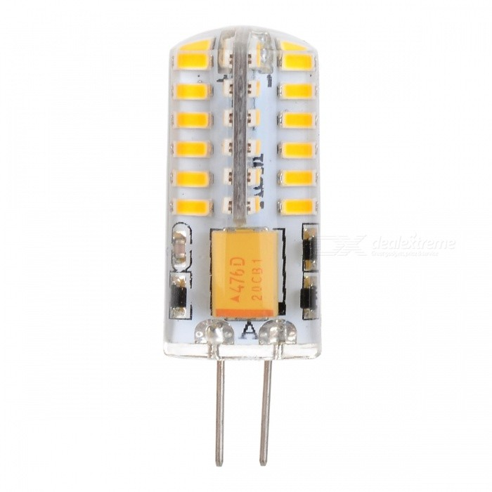 G4 3W 48-SMD 3014 LED 170lm Warm White Light LED Corn Bulb (AC/DC12V)G4<br>Color BINWarm WhiteMaterialLED + SiliconeForm  ColorTransparent + YellowQuantity1 DX.PCM.Model.AttributeModel.UnitPower3WRated VoltageOthers,AC/DC 12 DX.PCM.Model.AttributeModel.UnitConnector TypeG4Emitter TypeOthers,3014 SMD LEDTotal Emitters48Theoretical Lumens170 DX.PCM.Model.AttributeModel.UnitActual Lumens150-170 DX.PCM.Model.AttributeModel.UnitColor Temperature3000KDimmableNoBeam Angle360 DX.PCM.Model.AttributeModel.UnitPacking List1*LED Bulb<br>