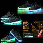 USB Rechargeable LED Colorful Light Shoes - Black (Size 44 / Pair)